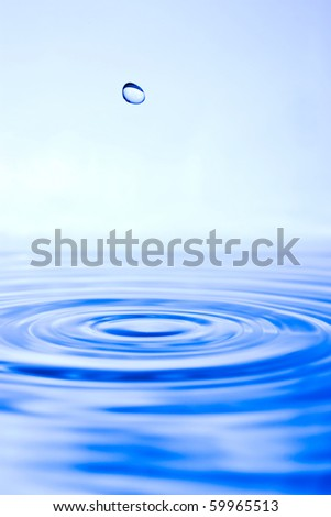 blue water surface and drop,closeup - stock photo