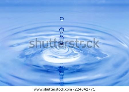 blue water water splash closeup - stock photo