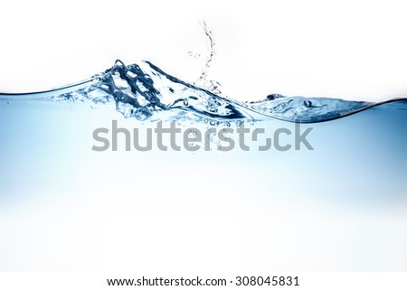 Blue water wave and bubbles to clean drinking water - stock photo