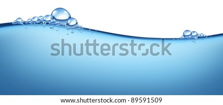 Blue water wave flowing horizontal fresh cold liquid with bubbles representing the concept of clean natural H2o as a symbol purity of health and the freshness of pure nature. - stock photo