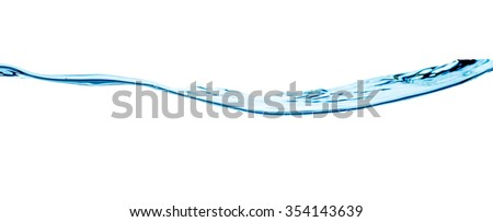 Blue water wave isolated on white  - stock photo