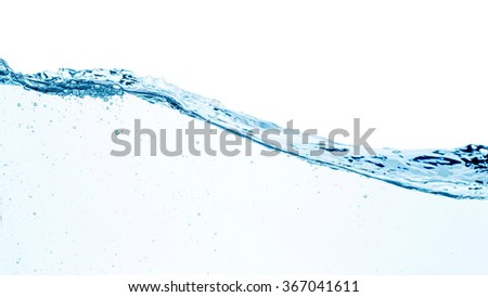 Blue water wave isolated on white