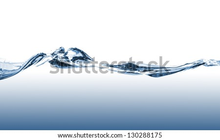 Blue water waves on a white background - stock photo