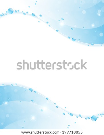 Blue water waves with  shiny bubbles and sparks. Clear water background. - stock photo