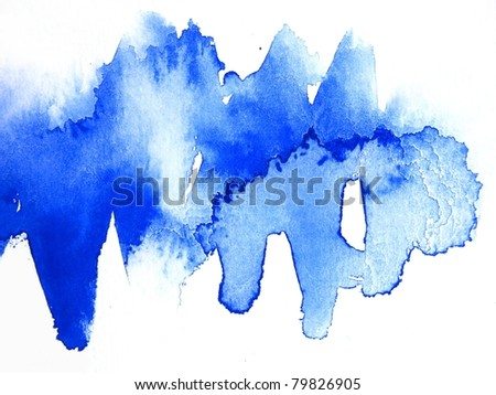 Blue Watercolor Abstract 4 - stock photo
