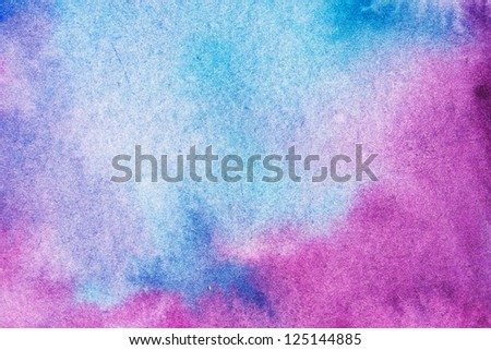 Blue watercolor abstract hand painted background. - stock photo