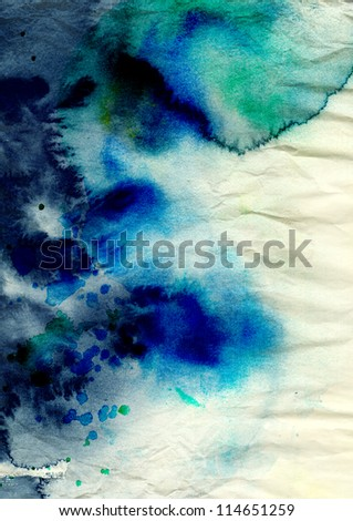 Blue watercolor background on grunge texture - stock photo