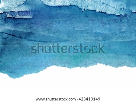 blue watercolor background, shades of blue - stock photo