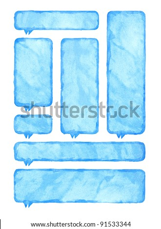 Blue watercolor blank rounded rectangle shape speech bubble dialog template form isolated on white background - stock photo