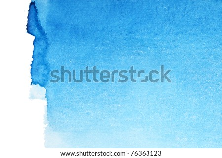Blue watercolor brush strokes, may be used as background - stock photo