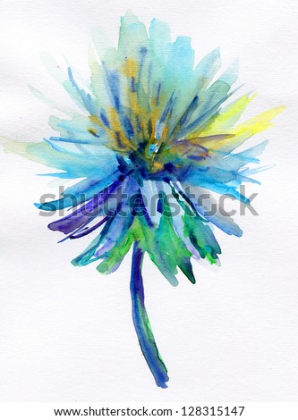 Blue watercolor flower stock illustration 128315147 - Plants with blue flowers a splash of colors in the garden ...