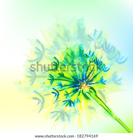 blue watercolor flowers. watercolor dandelion. Raster - stock photo