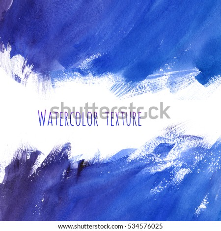 Blue watercolor frame texture with stains hand paint on white background. Abstract art for design.