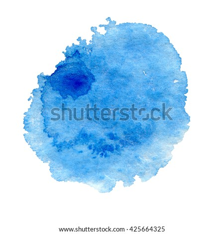 blue watercolor hand painted background isolated on white