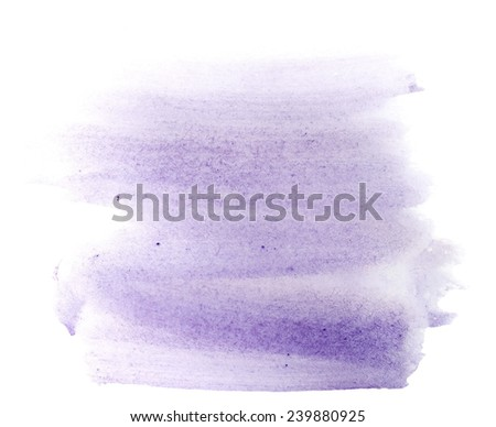 Blue watercolor hand painted brush strokes  isolated on white background, grunge paper  texture,  (with clipping path) - stock photo