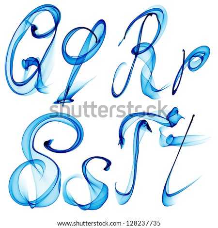 blue watercolor, ink font letter Qq Rr Ss Tt isolated on white background raster - stock photo