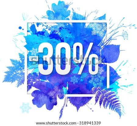 Blue watercolor leaves -30 percent discount banner template - stock photo