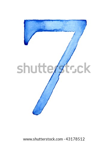 Blue watercolor number