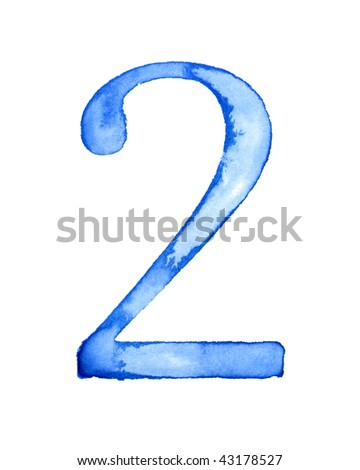 Blue watercolor number - stock photo