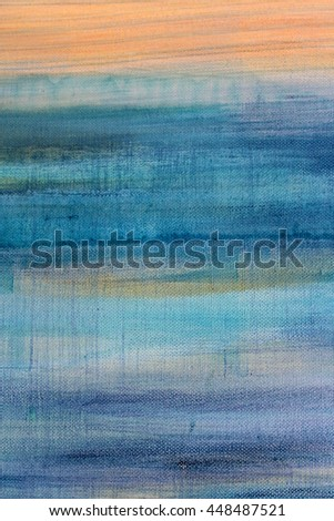 Blue Watercolor on Canvas 7 - stock photo
