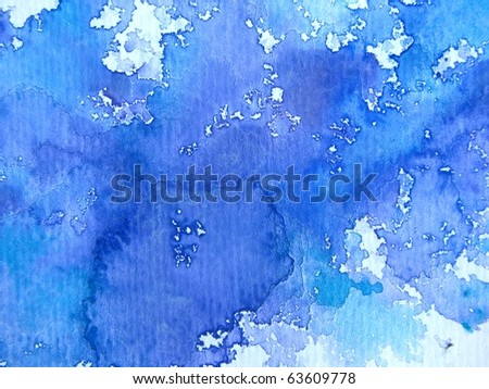 Blue Watercolor on Textured Paper 1 - stock photo