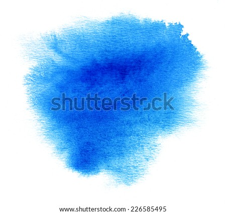 Blue watercolor or ink stain with water color paint blotch - stock photo