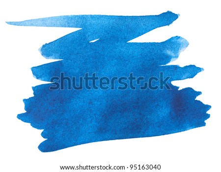 Blue watercolor paint stroke on white background - stock photo