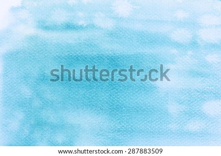 blue watercolor painting on paper background - stock photo