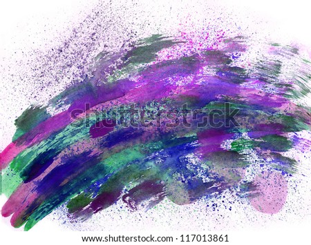 Blue watercolor  splash with nice  effects - stock photo