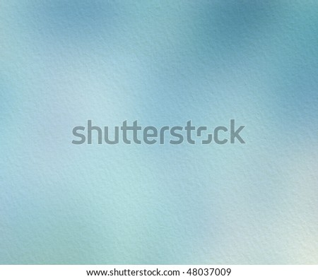 Blue Watercolor Wash on Handmade Paper Textured Background - stock photo