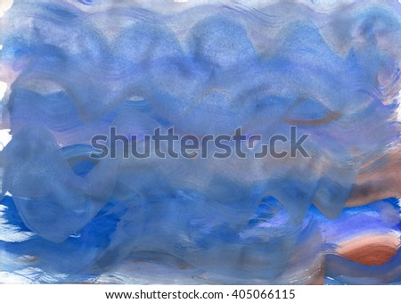 blue watercolor wave background - stock photo
