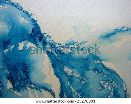 Blue Watercolor Waves I - stock photo