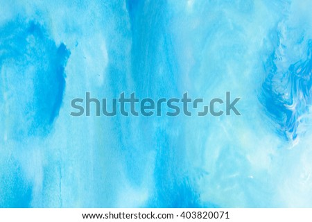 blue watercolors on paper texture - background design - hand painted element - stock photo
