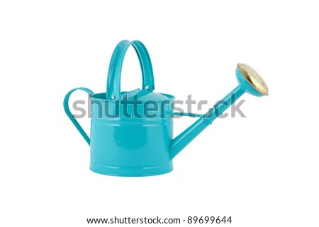 blue watering can - stock photo