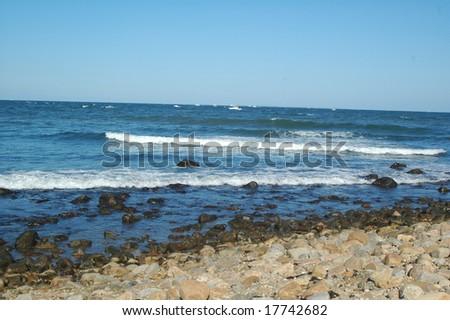 blue waters of Montauk point long island new york - stock photo