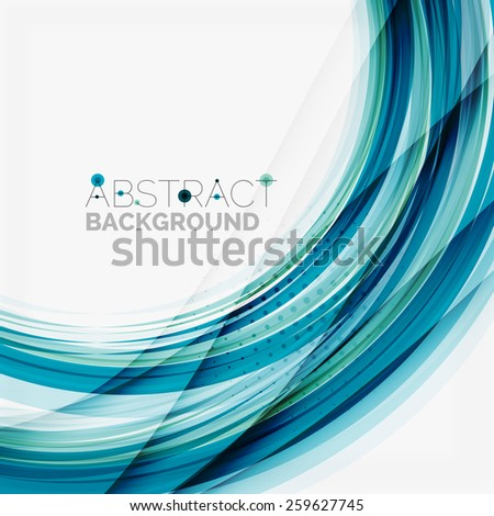 Blue wave abstract background, lines on white template - stock photo