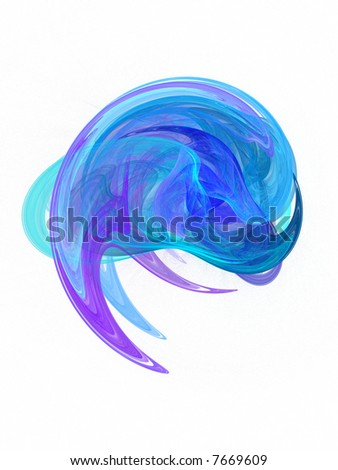 Blue wave crest - abstract art isolated on white.
