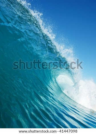 Blue Wave in Ocean - stock photo