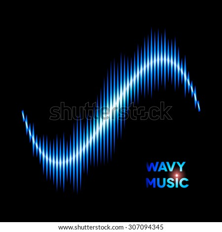 Blue wave shaped sound or music waveform - stock photo