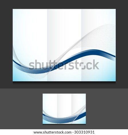 blue wave trifold template illustration design over a grey background - stock photo