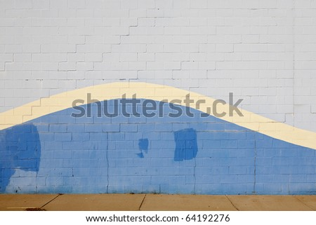 blue wave wall - stock photo