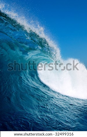 Blue Wave with Perfect Barrel - stock photo
