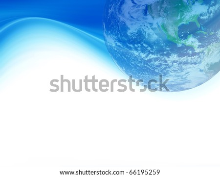 Blue wave with world and space for insert text or design