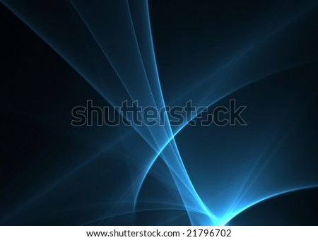 Blue waves on a black background-3D rendered fractal. - stock photo