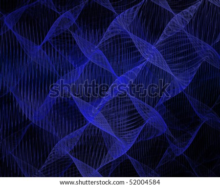 Blue waves on black background - stock photo