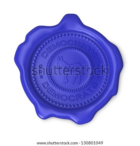 Blue wax seal of approval as Democrats party symbol on white background - stock photo