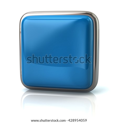 Blue web button isolated on white background