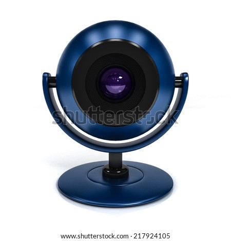 Blue Web Camera Isolated on White Background