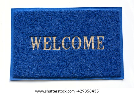 Blue welcome carpet  - stock photo