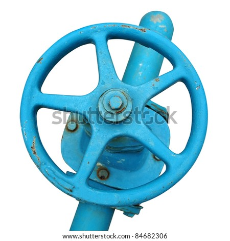 blue wheel valve with pipe (isolated with clipping path) - stock photo
